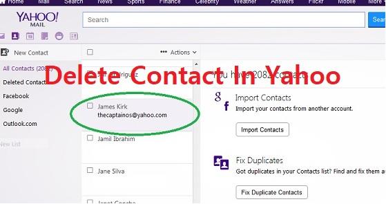 delete contact Yahoo
