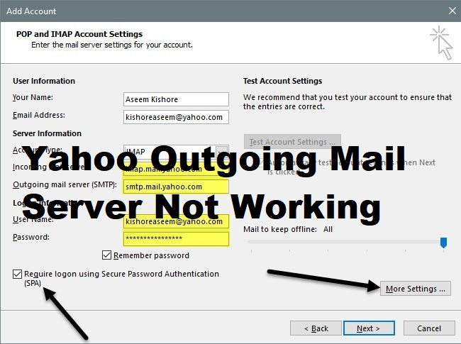 Yahoo Outgoing Mail Server Not Working