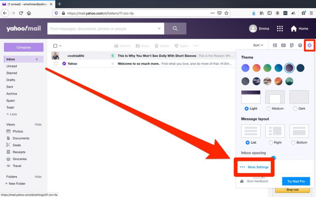 unblock email in yahoo